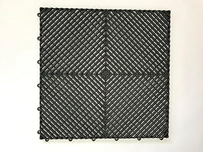 "Will-vines Garage Flooring Interlocking Tiles Red, Yellow, Grey, Black 16-Pack 20""X20"""