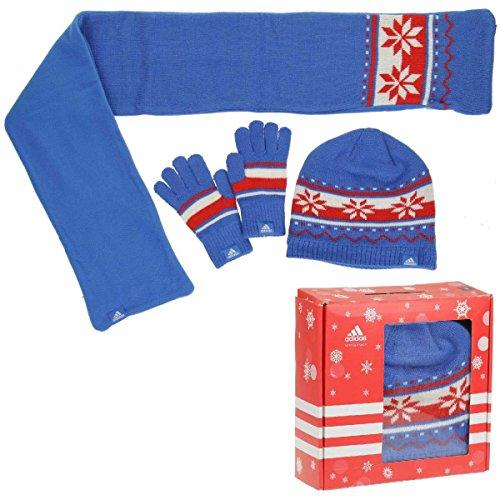 Adidas Gift Set Kids scarf, cap for boys blue W64935, Größe Bekleidung:S