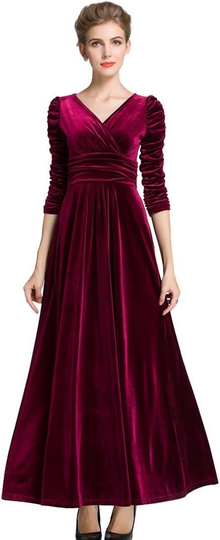 فستان ماكسي نسائي مخملي طويل الاكمام بقبة على شكل حرف V من ميدشي (18/20، بيرغاندي، خصر مكشكش)