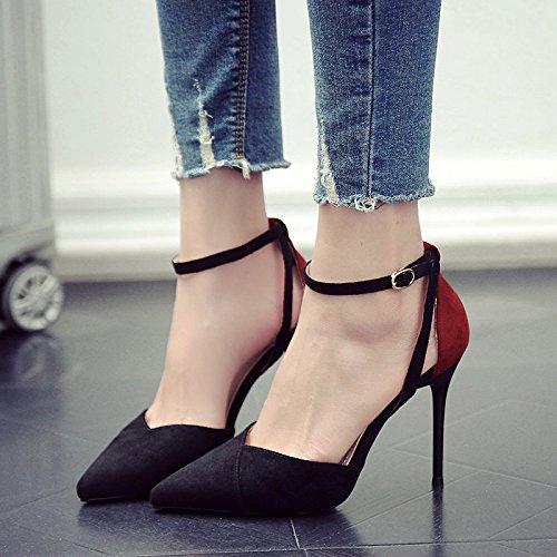 Punta Primavera De De Color Chica GAOLIM Delgada Zapatos Hechizo Y Solo Negro Tacones Plana 7YaST0