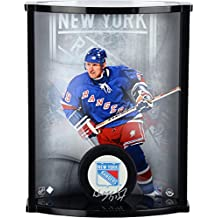 Wayne Gretzky New York Rangers Autographed Logo Puck with Curved Display Case - Upper Deck - Fanatics Authentic Certified