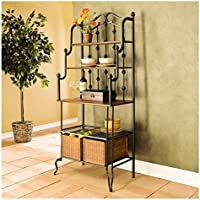 Upton Home Augusta Black Metal Bakers Rack