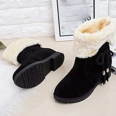 JiaMeng Botas de Nieve Mujeres Antideslizante Impermeable Plano Botas de Invierno Botines de Mujer Zapatos de tacón Botas de Invierno Zapatos de Moda: ...