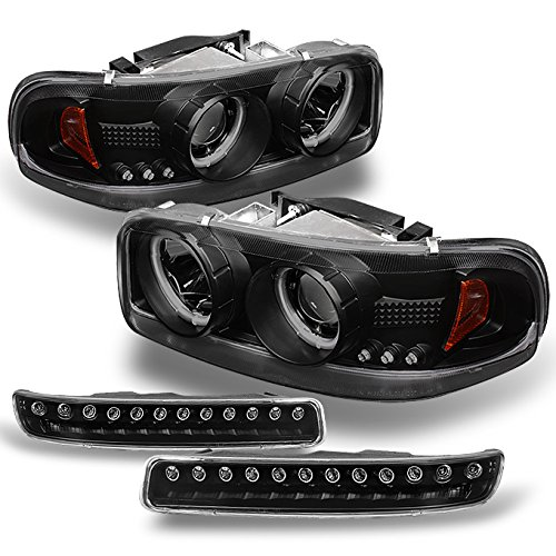 For GMC Sierra Yukon CCFL Halo Projector Headlights Lamps + LED Bumper Signal Lights Replacement Combo - Gmc Sierra Halo Projector