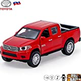Toyota Hilux Diecast Toy Car in Display Box - Cast Iron Metal Model Scale 1 36 (red)