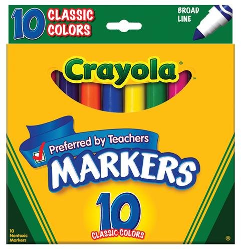 Crayola Broad Line Markers, Classic Colors 10 Each (Pack of 6) -