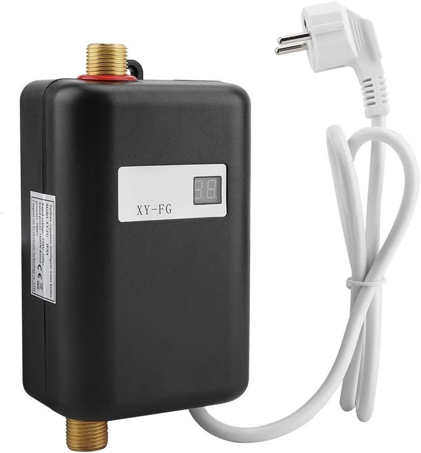 Liineparalle Calentador de Agua de géiser Mini Calentador de Agua Caliente instantáneo sin Tanque eléctrico para baño Cocina Lavado Invierno Enchufe de la UE 220V 3800W(#2)