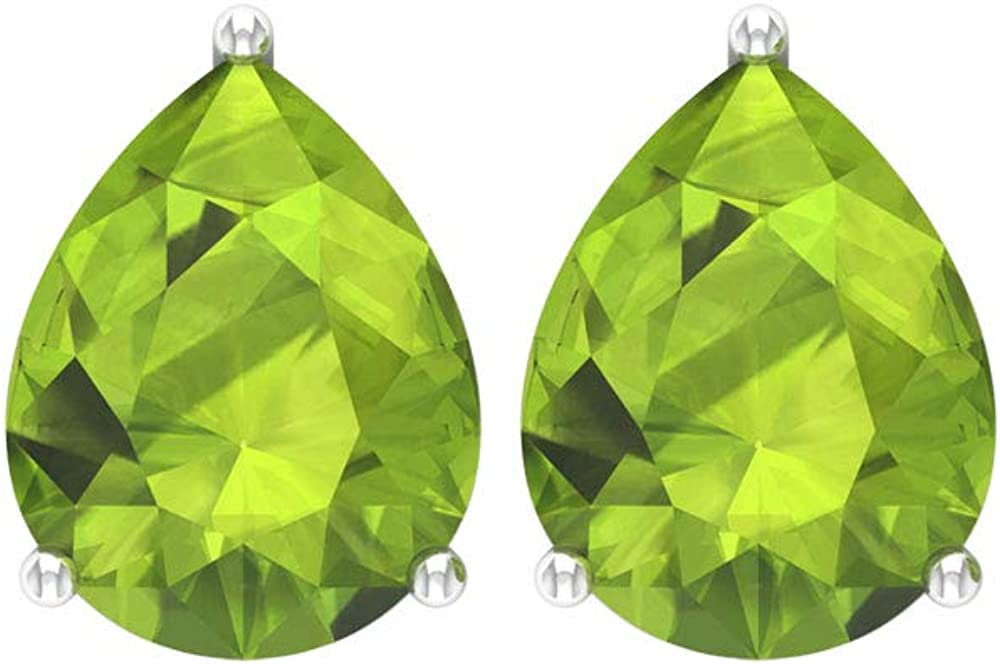 Pendientes de peridoto con forma de pera de 3,20 ct, certificado SGL, piedra verde, vintage, nupcial, boda, agosto, piedra natal personalizada, lágrima, tornillo hacia atrás