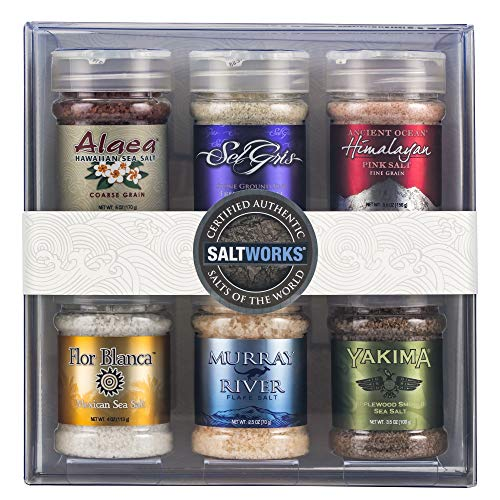SaltWorks Salts of the World Collection, Gift Set, Premium Sea Salt, (Set of 6), 39.8 Ounce