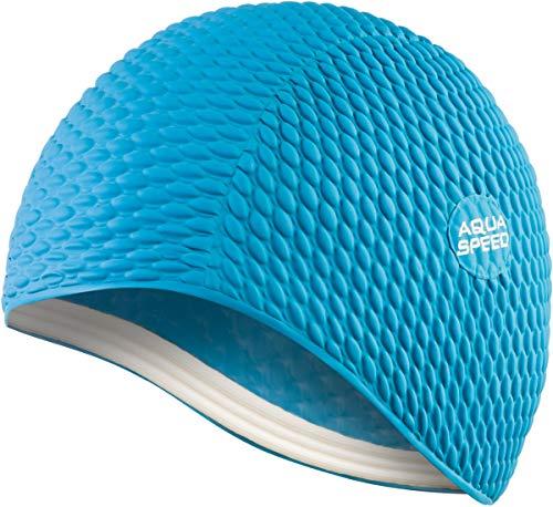 Aqua Speed Badekappe Damen | Schwimmkappe Mädchen | Bademütze | Badehaube | Schwimmmütze Lange Haare | Swimming Cap for Long Hair | Latex | Bombastic