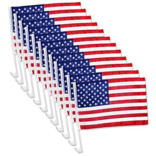 Dealer Flags - 12x US American Patriotic Car Window Clip USA Flag 17