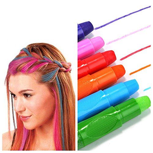 CCbeauty Hair Chalk Pens 6 Color Natural Hair Chalk Markers Works on All Hair Color Dye Temporary Hair Chalk Set (Best Hair Chalk For Natural Hair)