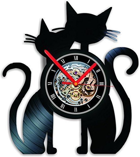 Amazon.com: Gato negro Reloj Reloj de pared de vinilo reloj ...