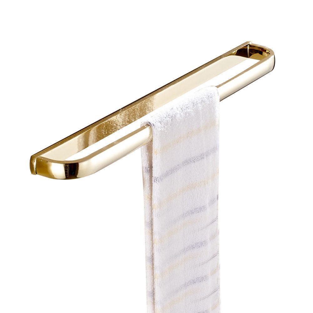 Leyden Bath 23'' Single Towel Rod Gold Finish Brass Wall Mounted Towel Rack Bathroom Curved Towel Bar