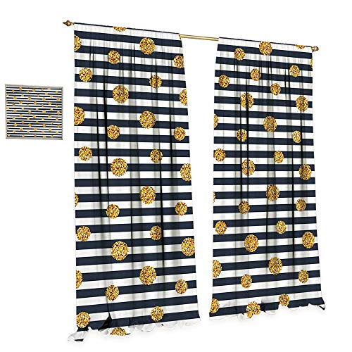 Round Gold Tiger Yellow (cobeDecor Gold and White Waterproof Window Curtain Thin Horizontal Lines with Circles Rounds Vintage Polka Dots Blackout Draperies for Bedroom W84 x L96 Navy Blue Yellow White)