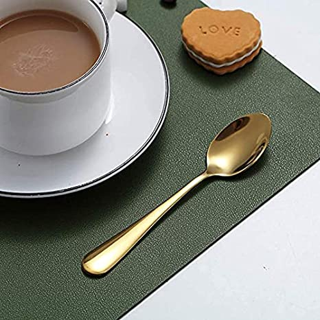 Cuchara de caf/é de oro rosa,Kyraton cuchara de caf/é de acero inoxidable,cuchara de oro rosa chapada en titanio,cuchara de postre,cuchara de helado,cuchara de t/é,juego de 6 piezas