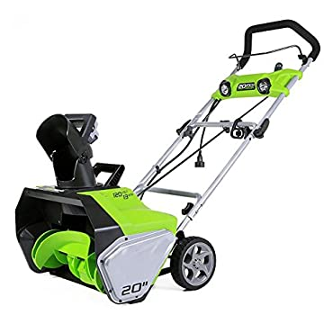 """Greenworks 13-Amp 20"""" Corded Snow Thrower With Dual LED Lights 