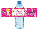 Spa Party Theme Kids Birthday Party Water Bottle label, self stick, easy to use