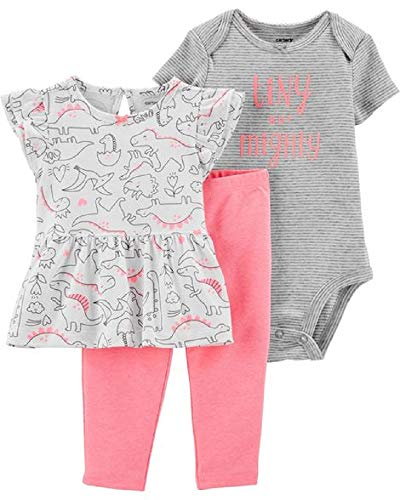 Carter's Baby Girls' 3-Piece Dinosaur Pant Set- Pink (9 Months)
