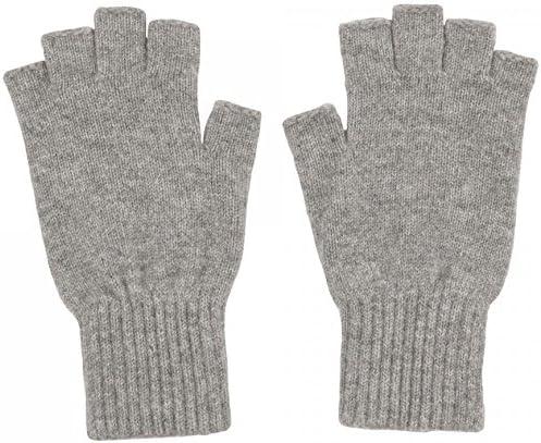 Scotland Ladies Fingerless Cashmere Gloves Black Homemade in Hawick