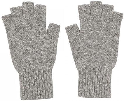 0107e2c84e26e Luxury Scottish 100% Cashmere Fingerless Gloves Pale Grey: Amazon.co ...