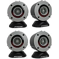 4) New Pyramid TW28 3.75 600W Super Car Audio Horn Bullet Aluminum Tweeters
