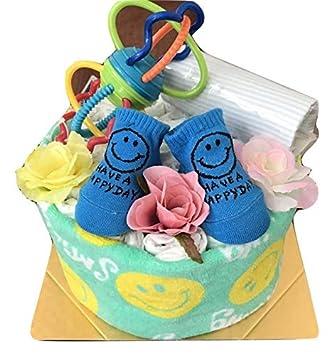 f1b4729364c9cd Amazon | おむつケーキ 男の子 出産祝い ポップスマイル ベビーソックス ...