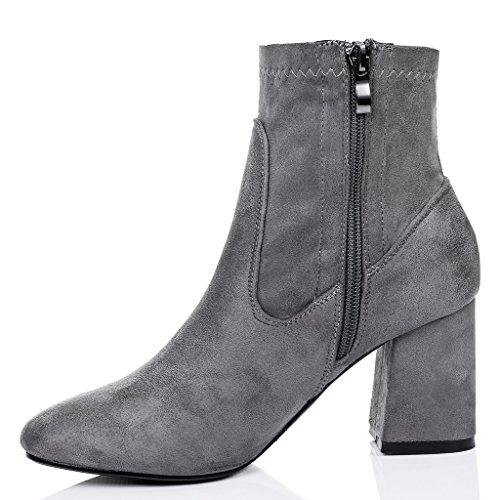 SPYLOVEBUY NIGHTSHADE Mujer Tacón Bloque Botes Bajas Zapatos Gris - Gamuza Sintética