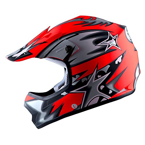 WOW Youth Kids Motocross BMX MX ATV Dirt Bike Helmet Star Matt ()