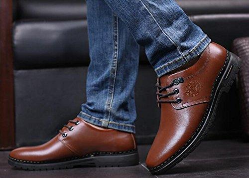 Idifu Mens Décontracté Bout Rond Bas Talons Chunky Faible Top Chaussures De Travail Lacets Oxford Brun