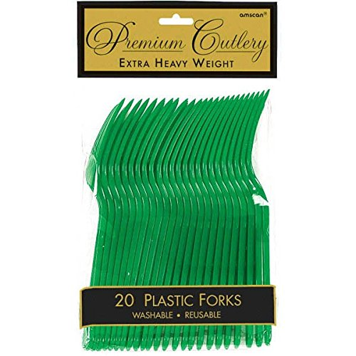 Plastic Forks Green Lime - Premium Heavy Weight Plastic Forks | Festive Green | Pack of 20 | Party Supply