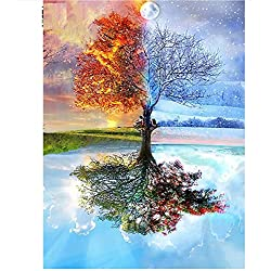 Sykdybz 100% Full DIY 5D Diamond Painting Seasons Tree Cross Stitch Diamond Embroidery Patterns Rhinestones Diamond Mosaic,25X30Cm