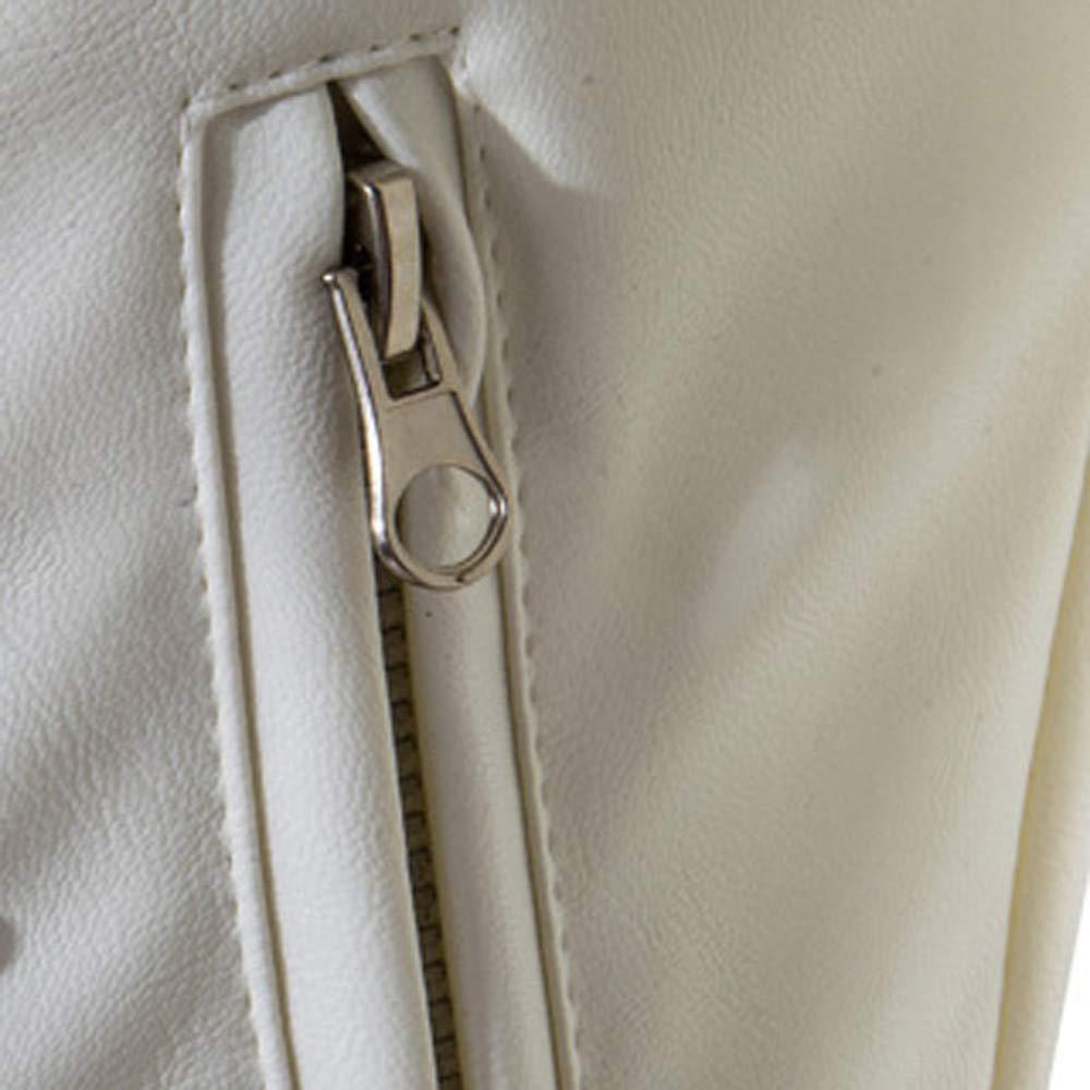 Yvelands Liquidación de Camisas para Hombres, Chaqueta de Cremallera de Bolsillo de Cuero de la Motocicleta del Cuello de la Personalidad de los Hombres: ...