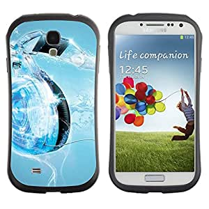 All-Round Hybrid Rubber Case Hard Cover Protective Accessory Gerneration-I Compatible with SAMSUNG GALAXY S4 - Music Water Heart