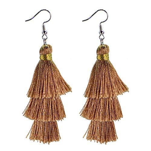 Light Brown Crystal - AD Beads Fashion Charm Crystal Silk Tassel 3 Layers Fan Fringe Dangle Earrings (04 brown)