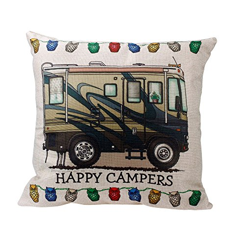 Price comparison product image Chenway Happy Campers Printed Throw Pillow Case,Zipper Square Waist Cushion Decoration CaseCover for Sofa Livingroom Home Decor (C)