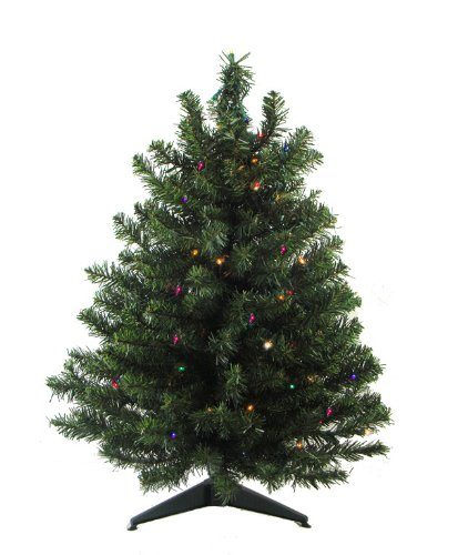 3' Pre-Lit Battery Operated Pine Artificial Multi-Color LED Lights