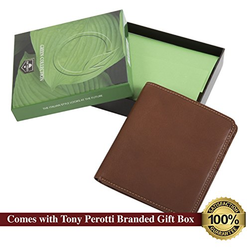 with Window Italian Cow Perotti ID Classic Leather Mens Cognac Bifold Hipster Wallet Tony UwzPC