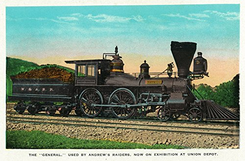 Chattanooga, Tennessee - View of the ''General'' Train used by Andrew's Raiders, at Union Depot (12x18 SIGNED Print Master Art Print w/Certificate of Authenticity - Wall Decor Travel Poster)