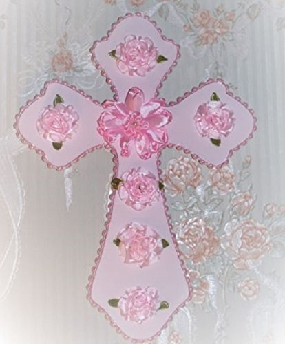 Pink Bouquet Cross (Pink Cabbage Ribbon Roses Lt Pink CROSS for your Feminine Decor Gift-Giving)