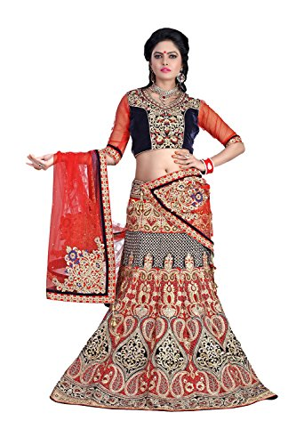 Da Facioun Womens Velvet Fabric Red Pretty A Line Lehenga Style 79520