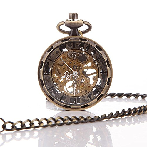 Carrie Hughes Retro Steampunk Open face Pendant Skeleton Mechanical Pocket watch with Chain for Men Woman