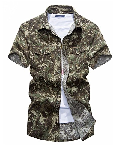 Gihuo Men's Pure Cotton Military Style Short Sleeve Button Down Camo Cargo Shirt with Pockets (Khaki, Small) - Cargo Pocket Shirt