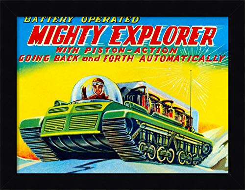 Framed Canvas Wall Art Print | Home Wall Decor Canvas Art | Mighty Explorer with Piston Action by Retrobot | Modern Contemporary Decor | Stretched Canvas Prints ()