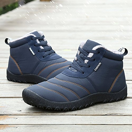 Minetom Invernali Unisex Uomo Sportive Stivali da Neve Impermeabile Scarpe Stivaletti Stringati con Imbottitura Calda Sneaker Blu