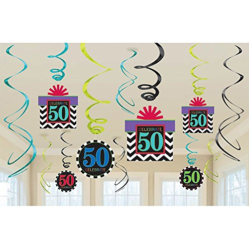 The Party Continuous 50th Birthday Party Hanging Swirl Ceiling , Pack of 12, Multi , 9.5