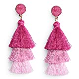 Me&Hz Hot Pink Ombre Three Layered Tassel Earrings Pink Tiered Tassel Earrings Long Dangle Statement Tassel Earrings