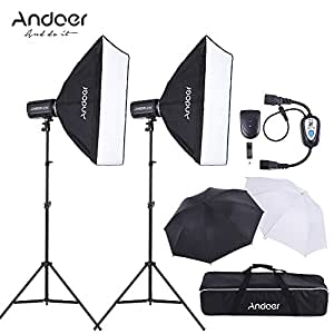 Andoer MD-300 600W (300W * 2) Estudio Kit de Iluminación Fotografía con Soporte de la Luz Softbox Unbrella Lambency Disparador de Flash Bolsa de Transporte