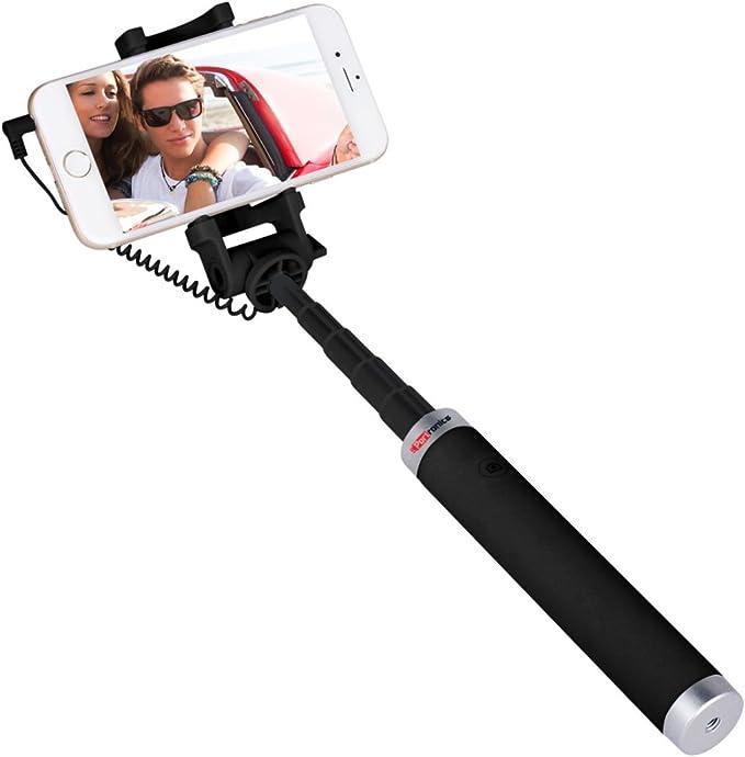 Portronics POR 853 Groupy Portable Wired Selfie Stick  Black  Selfie Sticks