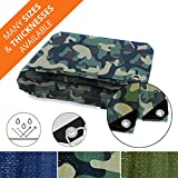 Heavy Duty Tarps | Waterproof Ground Tent Trailer Cover | Multilayered Tarpaulin in Many Sizes and Thicknesses | 6 Mil - Camo - 6' x 8'